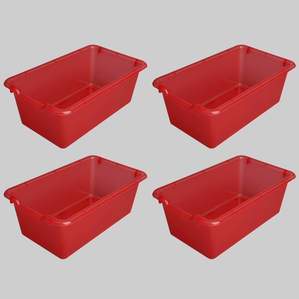 4ct Transparent Plastic Bins Red - Bullseye's Playground was $12.0 now $6.0 (50.0% off)