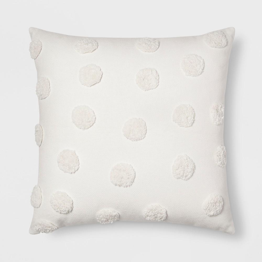 Pom Square Throw Pillow Cream - Opalhouse