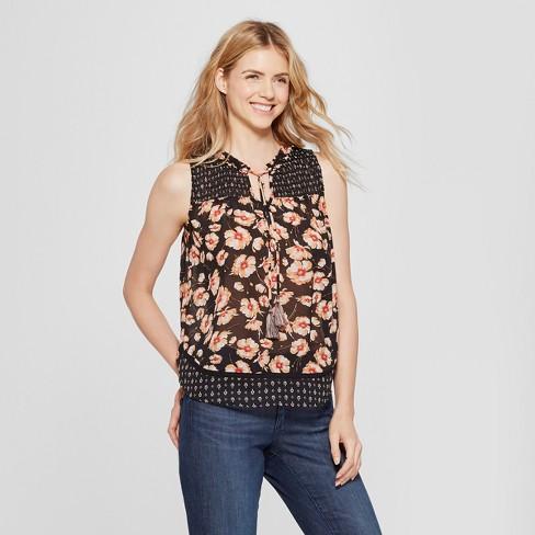 812d9b233af98 Women's Floral Print Smocked Tank - Knox Rose™ Black : Target