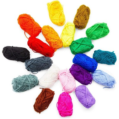 Bright Creations 20 Pack Colorful Acrylic Skein Kit, Medium #4 Yarn for Knitting and Crafts (21 Yards)