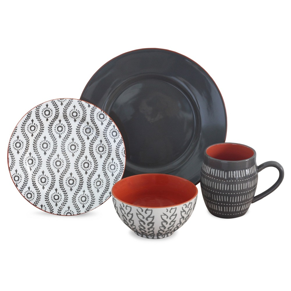 Image of Baum Bros. Tangiers 16pc Dinnerware Set Gray, Dark Grey
