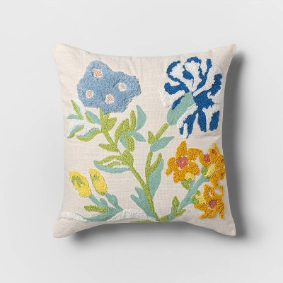 Square Floral Pillow White - Opalhouse™