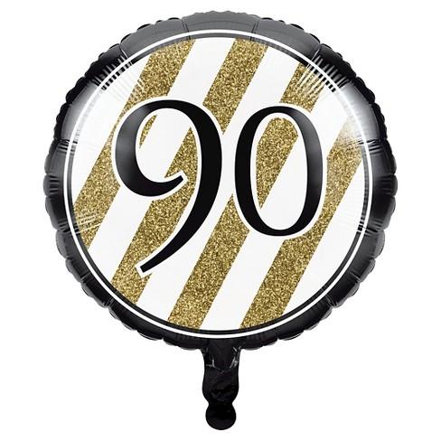 Black Gold 90th Birthday Mylar Balloon Target