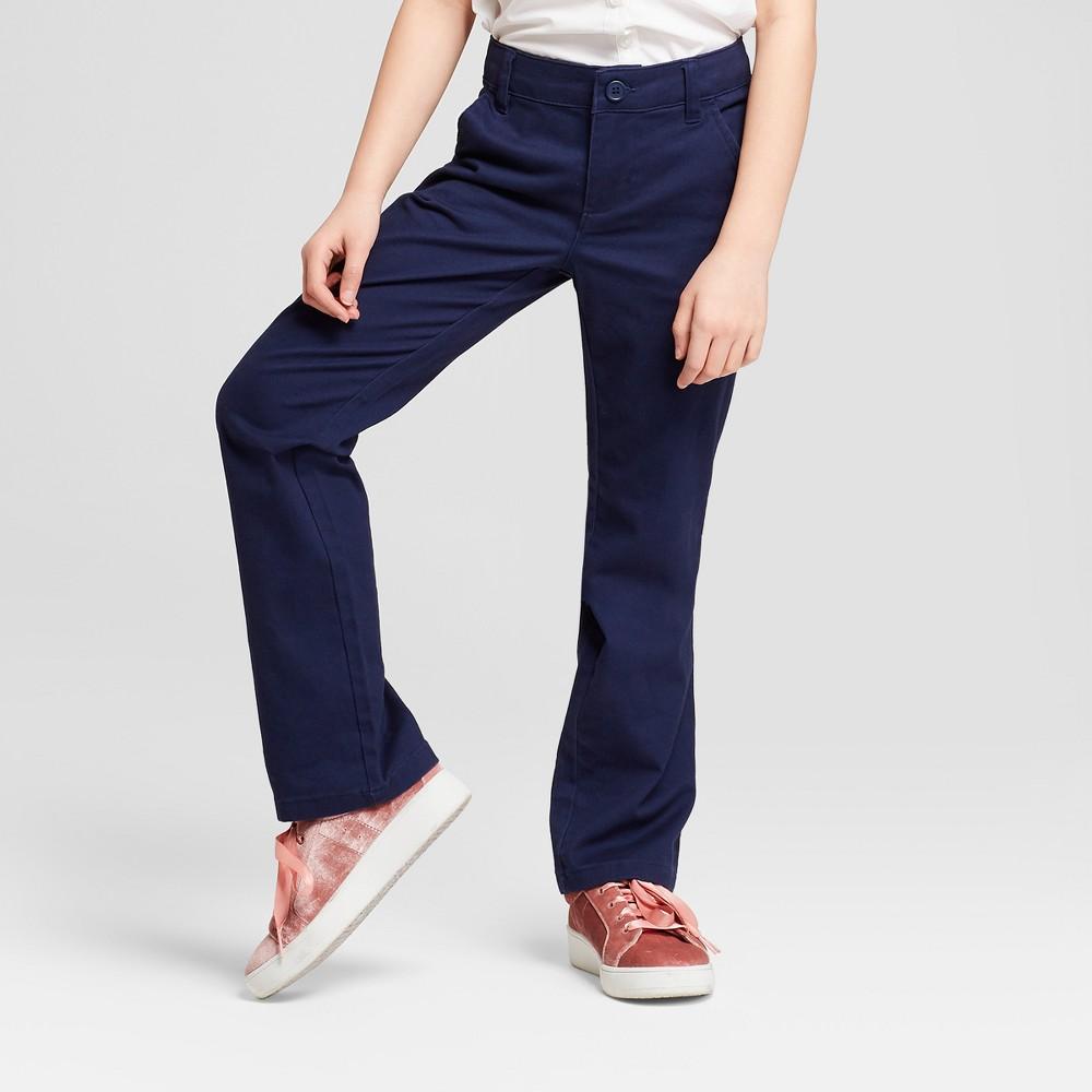 Plus Size Girls' Bootcut Twill Uniform Chino Pants - Cat & Jack Navy (Blue) 16 Plus