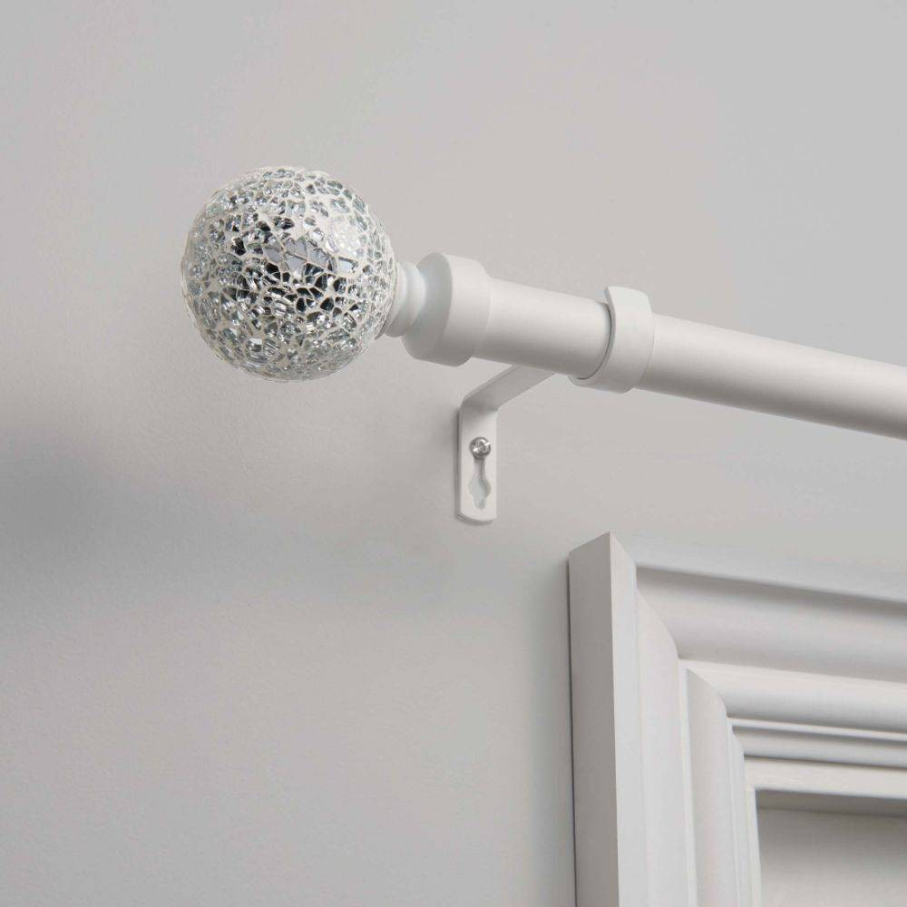 "Image of ""120""""x66"""" Adjustable Curtain Rod and Coordinating Finial Set Matte White - Exclusive Home"""