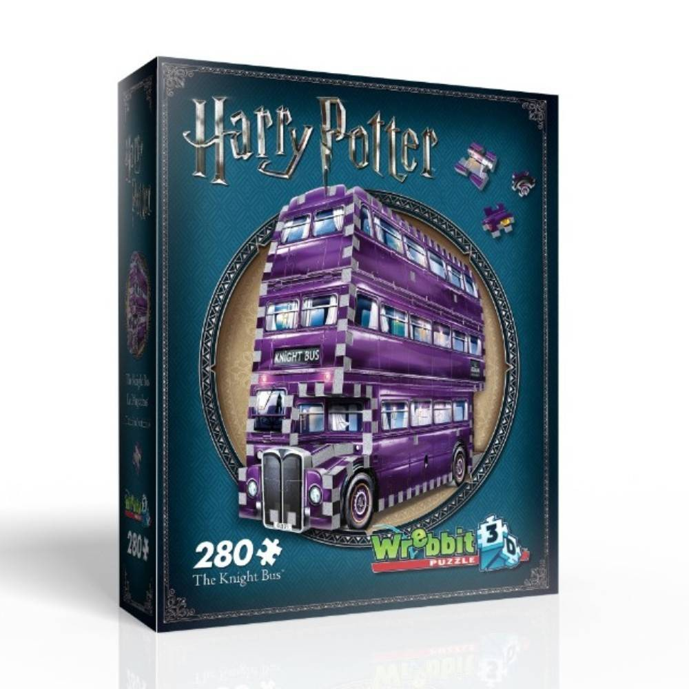 Wrebbit The Knight Bus 3D Puzzle 280pc If you're a stranded wizard in need for an urgent, safe and discreet form of transportation, simply stick out your wand arm close to the curb and The Knight Bus will appear. Once on board, this purple triple-decker bus will squeeze through small spaces and travel quicker than a regular bus to make sure you reach your destination in time. But one question remains; how fast can you build this 280-piece Harry Potter 3D puzzle? Assembled dimensions: 10.5 L x 2.75  W x 7.5  H. Wrebbit3D puzzles have snug and tight fitting foam back pieces that are easy to handle. They are the sturdiest 3D puzzles on the market and have the highest quality of design and illustration. Made in Canada. Gender: Unisex.