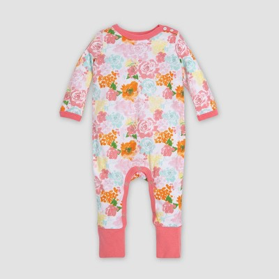 Burt's Bees Baby® Baby Girls' Organic Cotton Blooming Colors Floral Ruffled Coverall - White/Red 0-3M