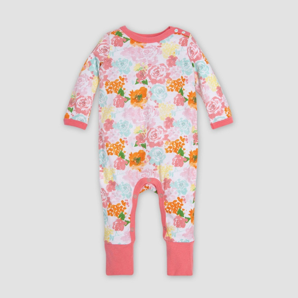 Burt's Bees Baby Baby Girls' Organic Cotton Blooming Colors Floral Ruffled Coverall - White/Red 24M, Multicolored