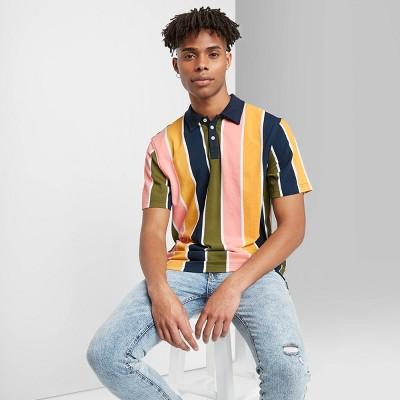 Men's Striped Short Sleeve Retro Polo Shirt - Original Use™ L