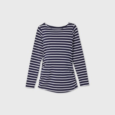 Maternity Striped Long Sleeve Boat Neck Side Shirred T-Shirt - Isabel Maternity by Ingrid & Isabel™ Navy L