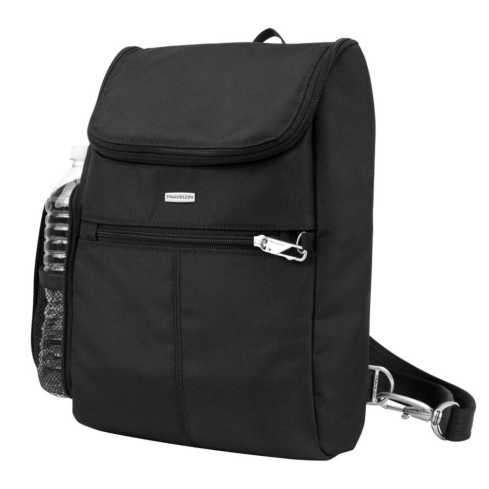 "Image of ""Travelon 12"""" RFID Anti-Theft Classic Convertible Small Backpack - Black"""