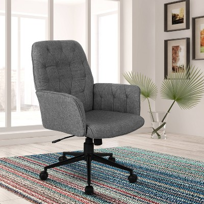 Modern Upholstered Tufted Office Chair with Arms Gray - Techni Mobili