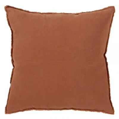 """20""""x20"""" Oversize Fringed Design Linen Square Throw Pillow Terracotta - Saro Lifestyle"""