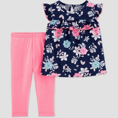Baby Girls' 2pc Floral Top & Bottom Set - Just One You® made by carter's Navy/Pink 3M
