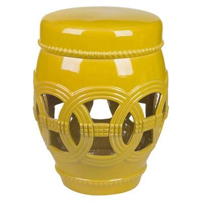 Perfect Whitney Yellow Ceramic Garden Stool   Abbyson Living