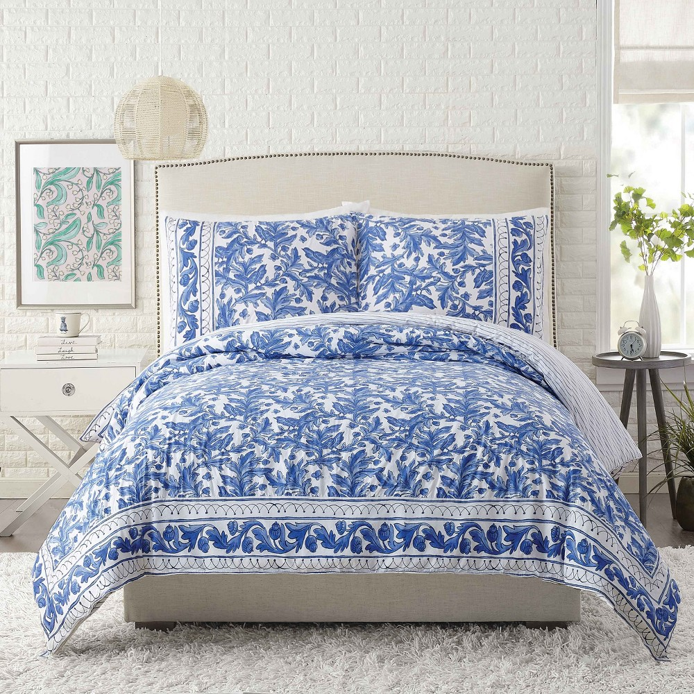Image of 3pc King Blue Bird Duvet Cover Set Blue - Molly Hatch for Makers Collective