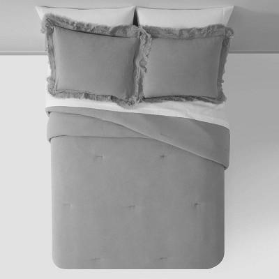 King Cotton Frayed Edge Comforter Set Dark Gray - Patina Vie