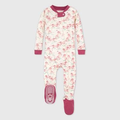 Burt's Bees Baby® Baby Girls' Organic Cotton Wild Horses Footed Pajama - Cream/Purple 18M