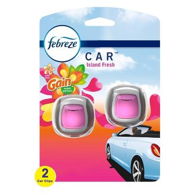Febreze Car Odor-Eliminating Car Freshener Vent Clip Gain Island Fresh - 06oz