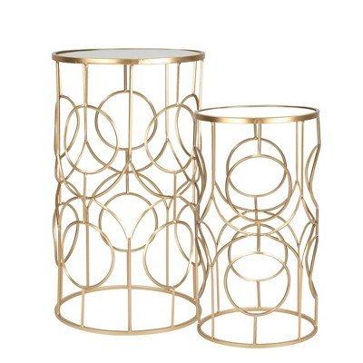 "Set of 2 28""/24"" Metal/Mirror Accent Tables Gold - Sagebrook Home"