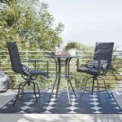 Avalon 3pc Sling Balcony Height Patio Bistro Set Black - Project 62™