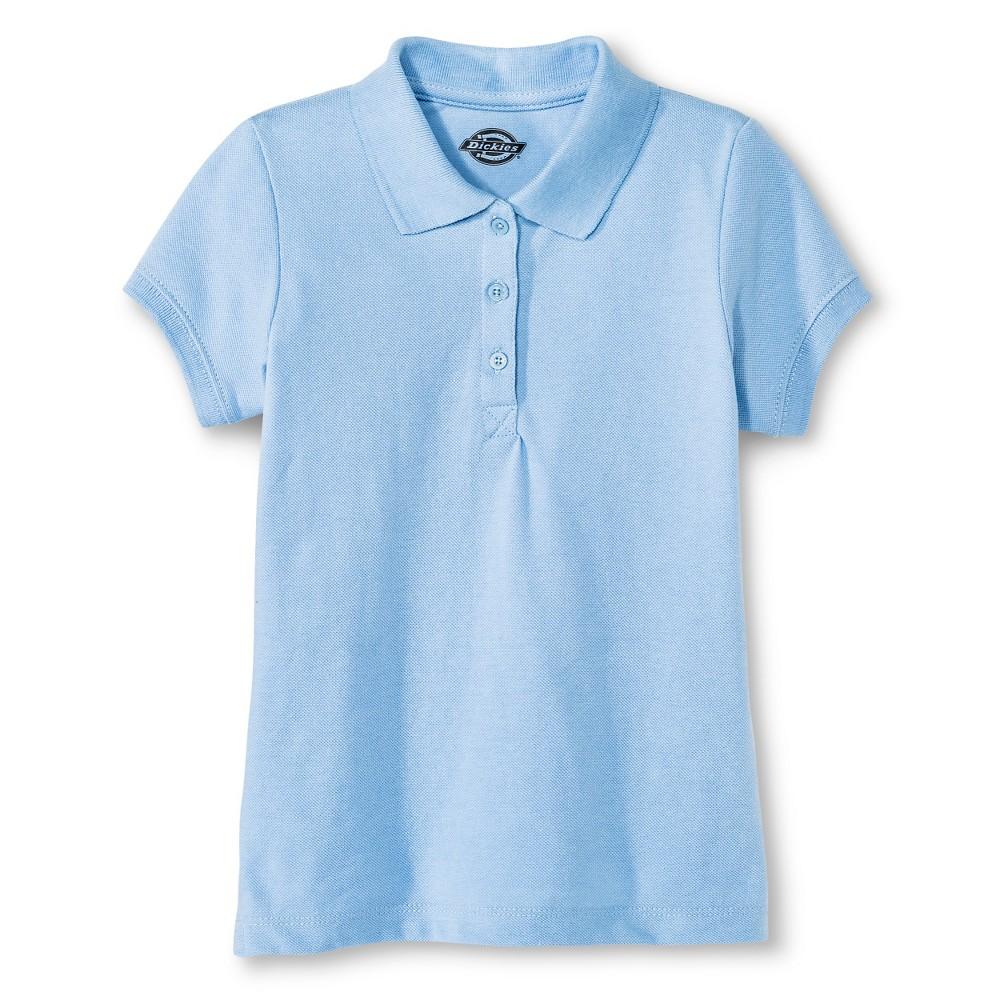 Dickies Girls' Pique Uniform Polo Shirt - Light Blue S