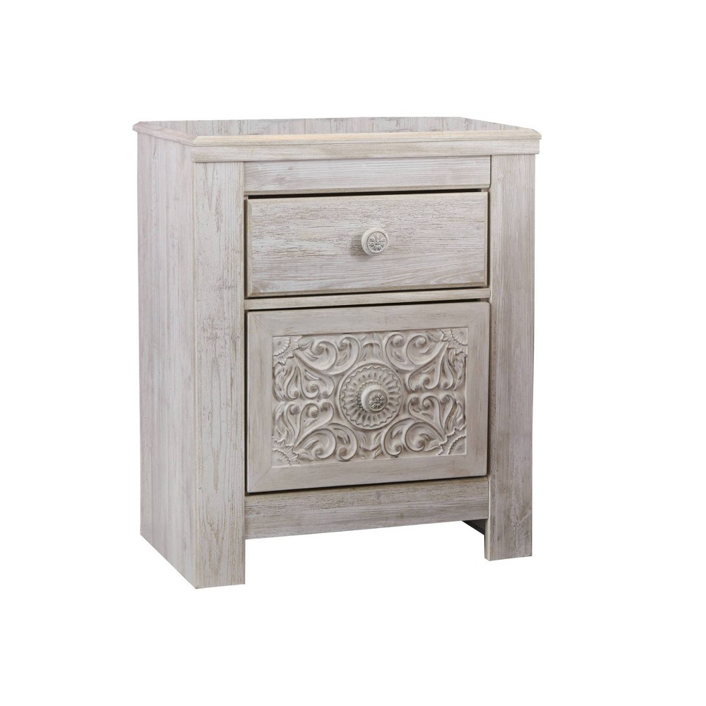 Paxberry Two Drawer Nightstand White Wash - Signature Design by Ashley