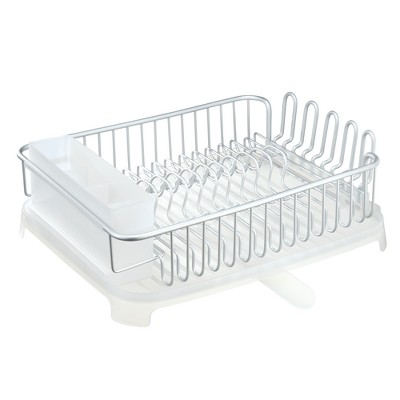 iDESIGN Large Dish Drainer Silver/White