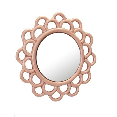 """9"""" Decorative Round Floral Ceramic Wall Hanging Mirror Pink - Stonebriar Collection"""