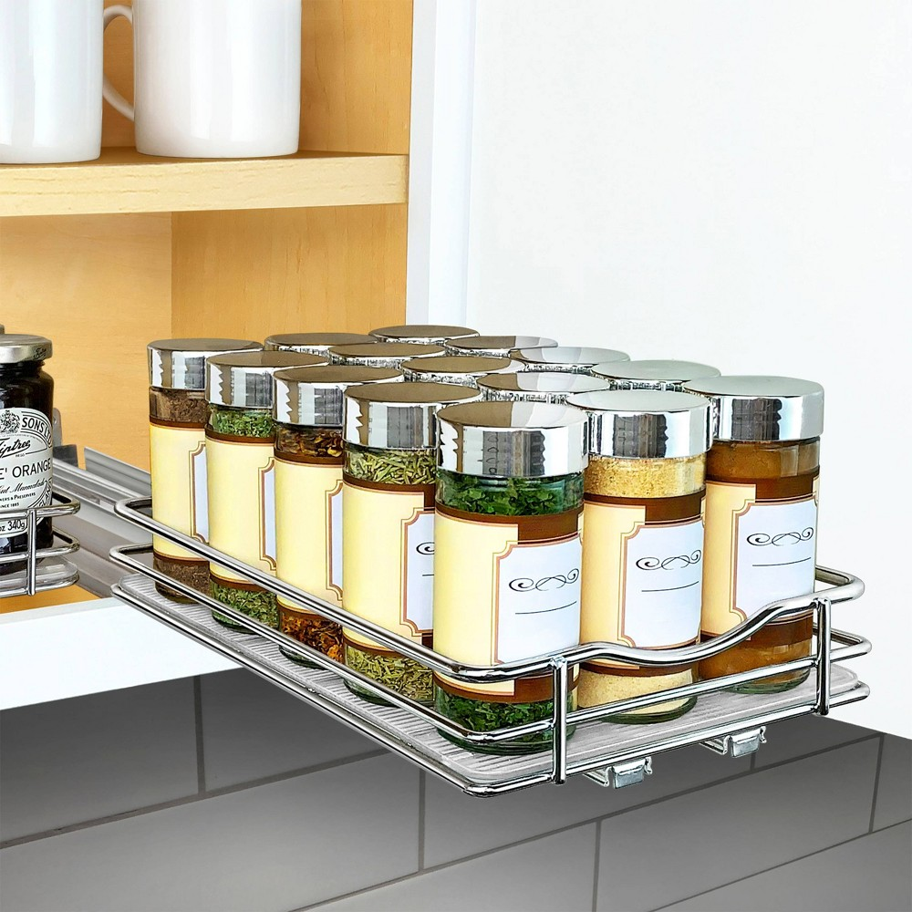 "Image of ""Lynk Professional Slide Out Spice Rack Upper Cabinet Organizer - 6"""" Wide"""