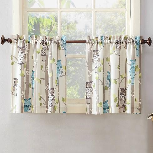 Owl Print Kitchen Curtain Valance Cream (56\
