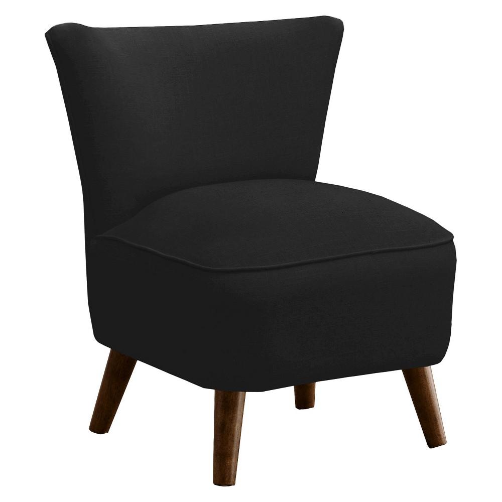 Skyline Custom Upholstered Mid Century Modern Armless Chair - Skyline Furniture, Linen Black