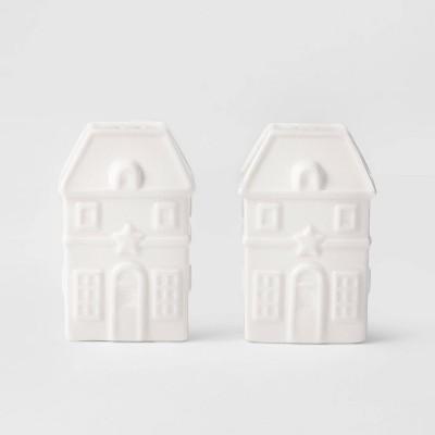2pc Earthenware House Salt & Pepper Shaker Set White - Threshold™