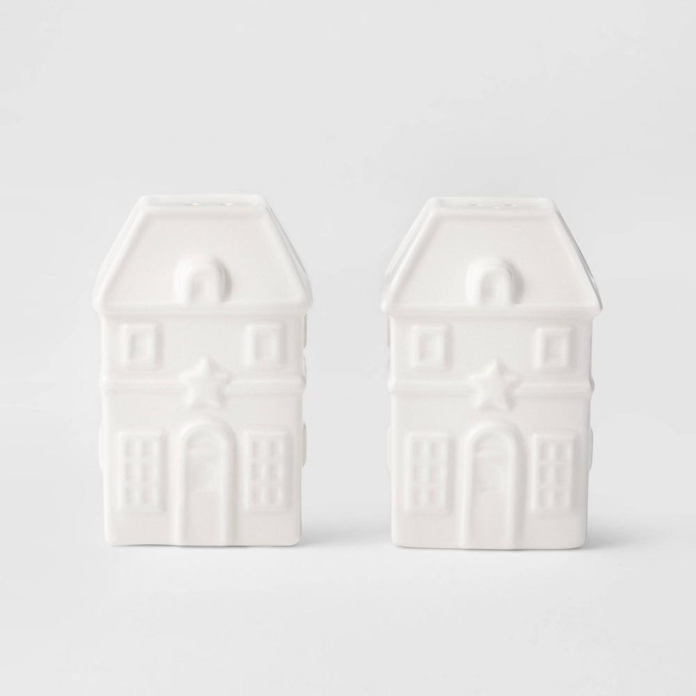 Image of 2pc Earthenware House Salt & Pepper Shaker Set White - Threshold