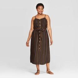 4503045bb44f Women's Plus Size Striped Sleeveless Square Neck Midi Button Front Dress -  Ava & Viv™
