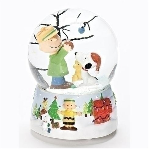 Snoopy Christmas Images.Roman 5 25 Musical Peanuts Charlie Brown And Snoopy Christmas Glitterdome