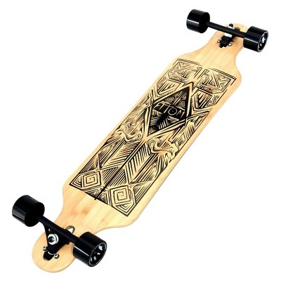 Atom Drop Through Bamboo Tiki & Maple Hybrid Deck Longboard Cruiser with Board, Bearings, and Wheels for Freeride Skateboard Carving Cruising, 40 Inch