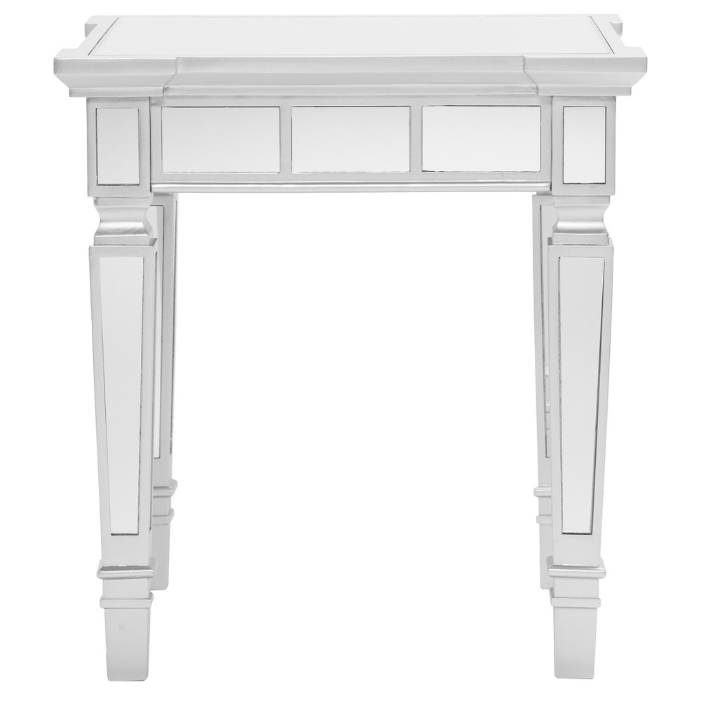Glenrose Glam Mirrored Square End Table - Matte Silver - Aiden Lane