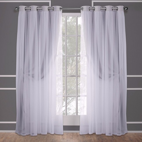 Caterina Layered Solid Blackout With Sheer Top Curtain Panels Cloud