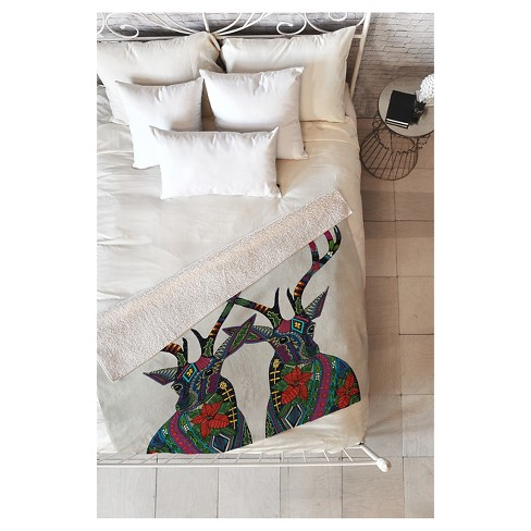 "Red Animal Sharon Turner Poinsettia Deer Sherpa Throw Blanket (50""X60"") - Deny Designs - image 1 of 2"