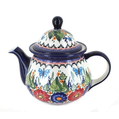 Blue Rose Polish Pottery Floral Butterfly Large Teapot