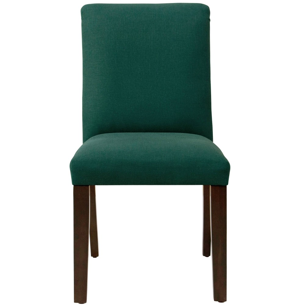 Aster Diamond Tufted Back Dining Chair in Linen Conifer Green - Cloth & Co.