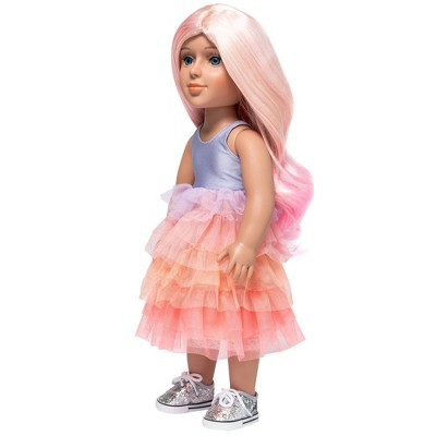 """I'M A GIRLY Mia 18"""" Fashion Doll with Cotton Candy Pink Interchangeable Wig to Style"""