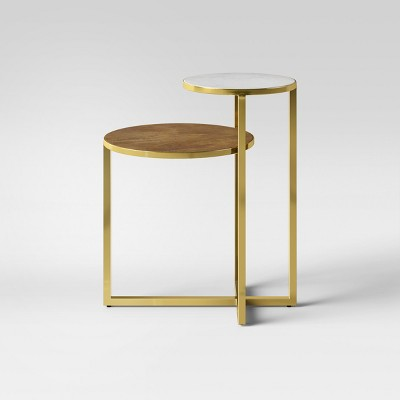 Mixed Material Marble & Metal Accent Table Gold - Project 62™