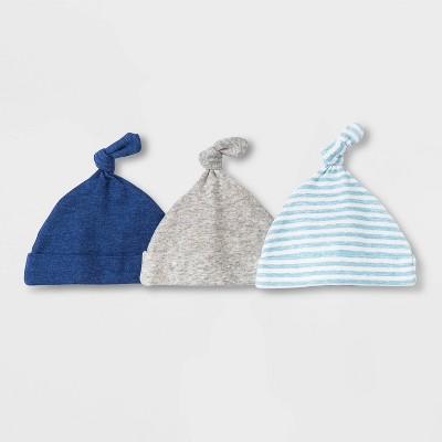 Baby Boys' 3pk Basic Hat - Cloud Island™ Blue 0-6M