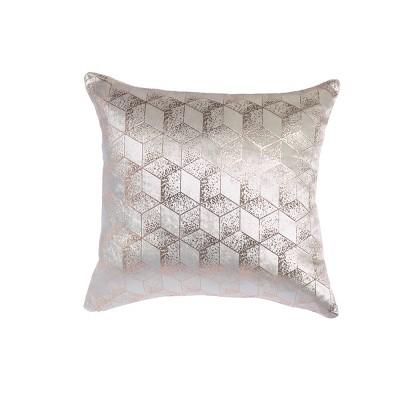 "18""x18"" Shimmer Metallic Geometric Square Throw Pillow White - Sure Fit"