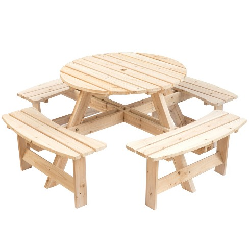 Gardenised Wooden Outdoor Patio Garden Round Picnic Table with Bench, 8 Person - image 1 of 4