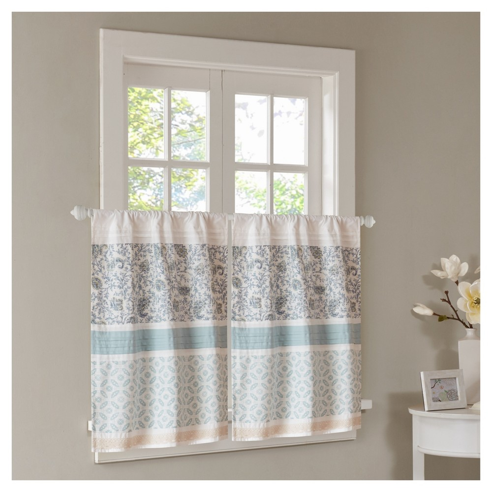 """Image of """"30""""""""x24"""""""" Stella Printed and Pieced Kitchen Tiers Pair Blue"""""""
