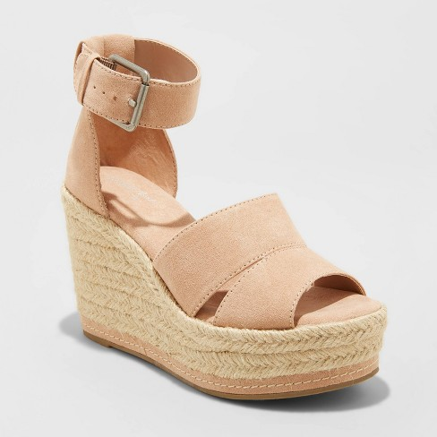 Women's Caroline Microsuede Ankle Strap Espadrille Wedge - Universal Thread™ - image 1 of 3