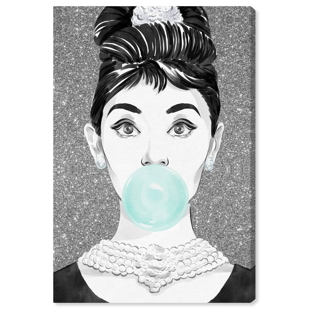 Image of 10'' x 15'' Bubblegum Star Unframed Wall Canvas White/Black - Oliver Gal